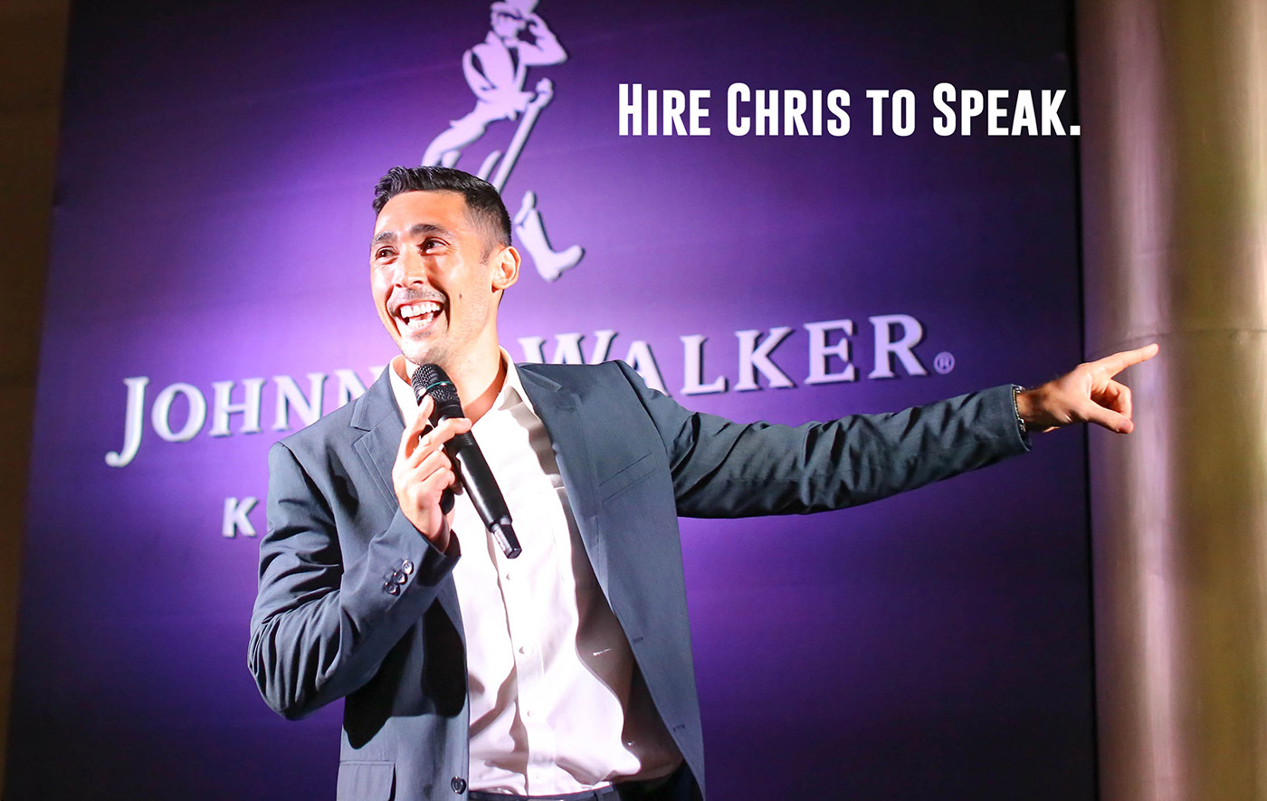 Chris as a keynote motivational speaker